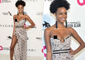 US model, Ebonee Davis suffers pop-out from hell as dress falls down as she arrived for Elton John's AIDS Foundation Academy Awards party